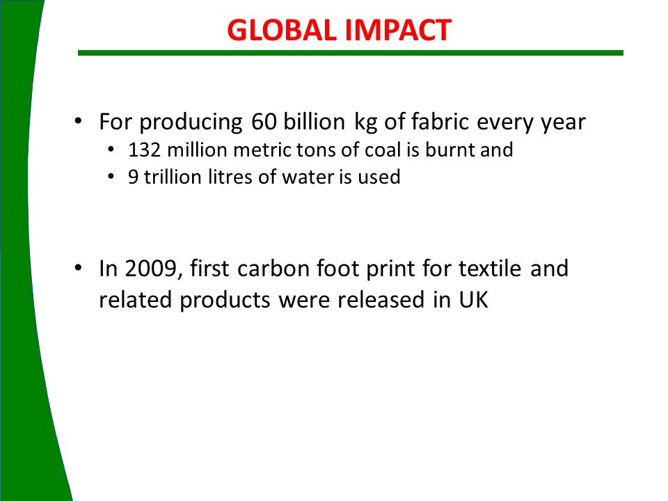 GLOBAL IMPACT For producing 60 billion kg of fabric every year
