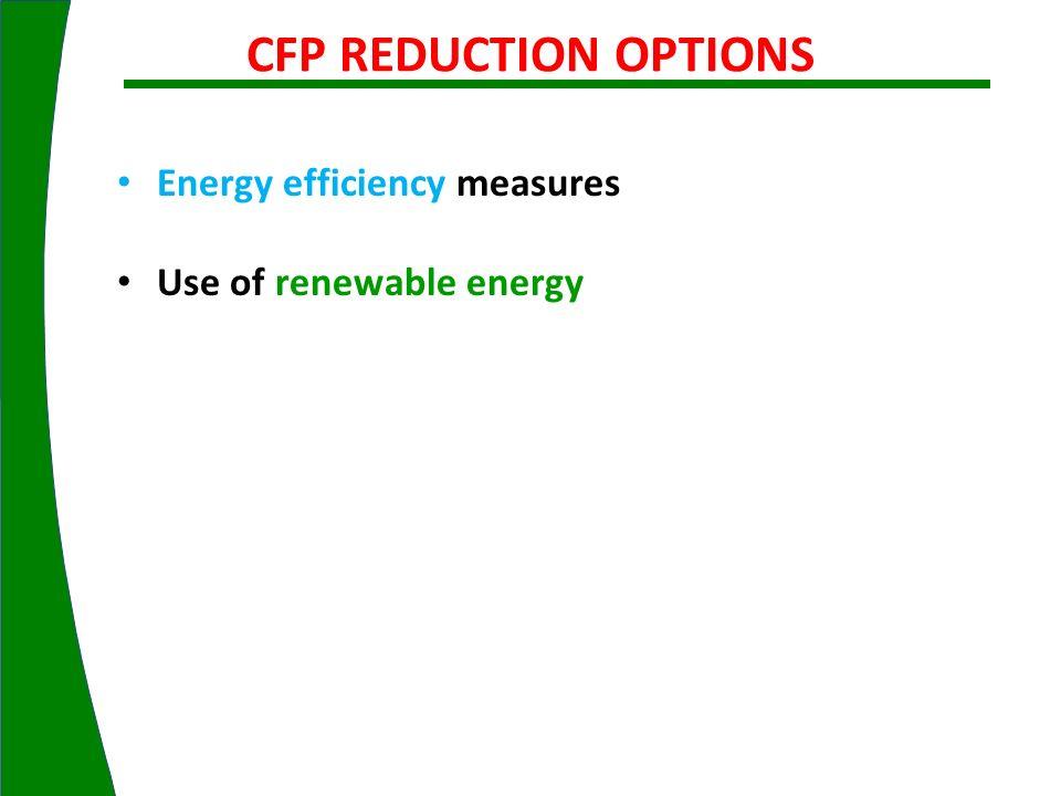 CFP REDUCTION OPTIONS Energy efficiency measures