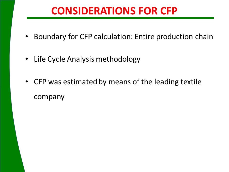CONSIDERATIONS FOR CFP