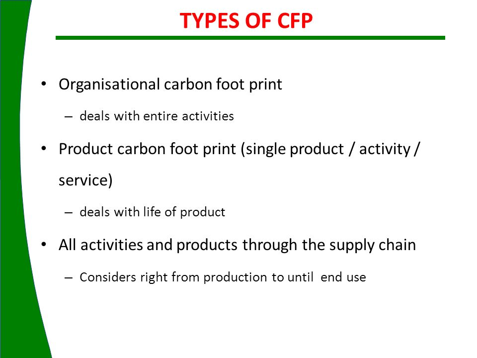 TYPES OF CFP Organisational carbon foot print