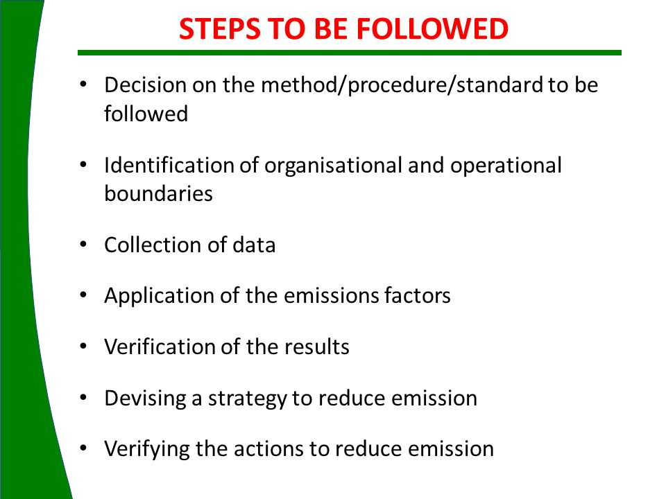 STEPS TO BE FOLLOWED Decision on the method/procedure/standard to be followed. Identification of organisational and operational boundaries.