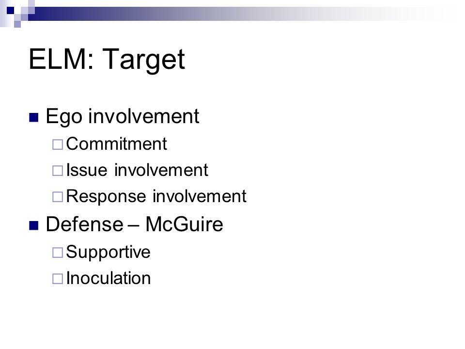 ELM: Target Ego involvement Defense – McGuire Commitment