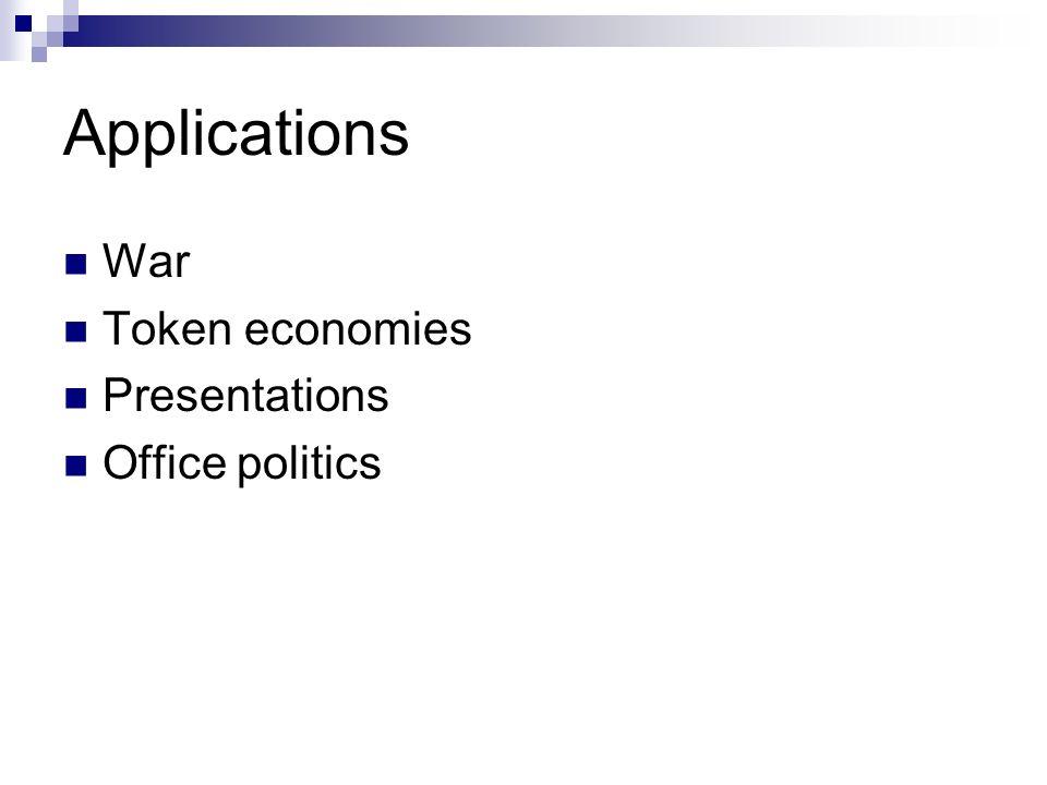 Applications War Token economies Presentations Office politics