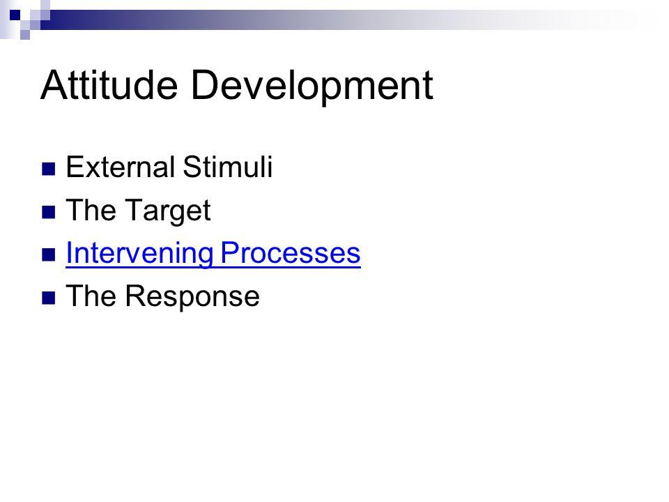 Attitude Development External Stimuli The Target Intervening Processes