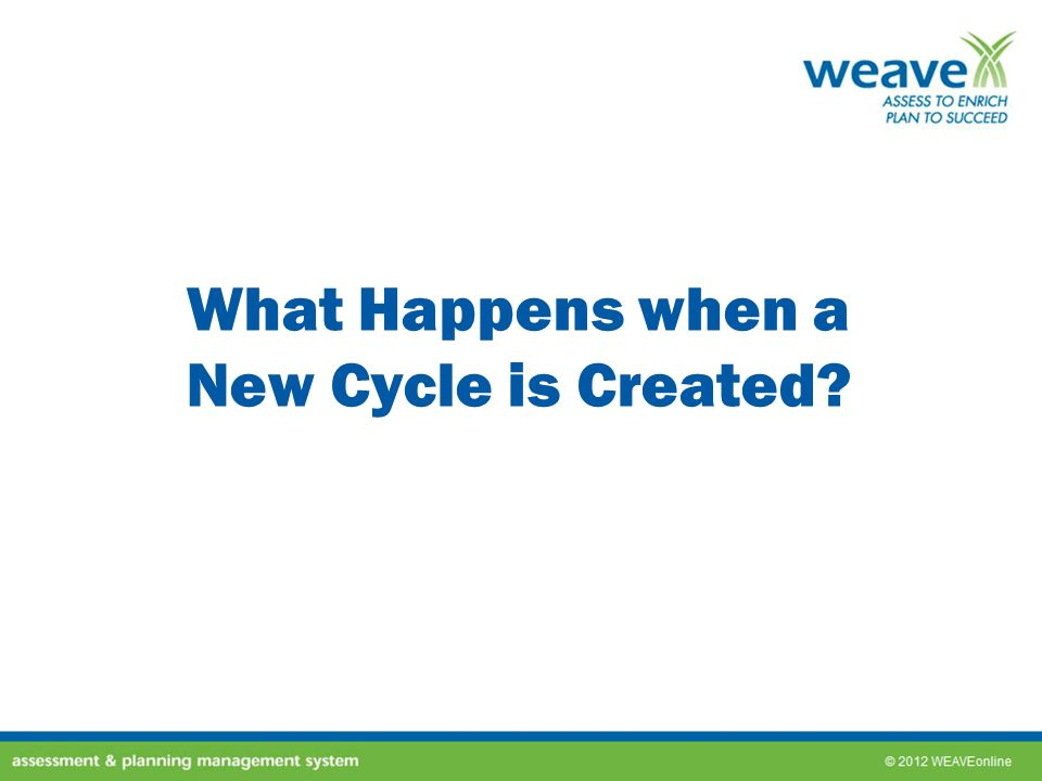 What Happens when a New Cycle is Created