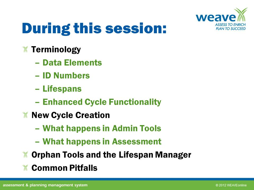 During this session: Terminology Data Elements ID Numbers Lifespans