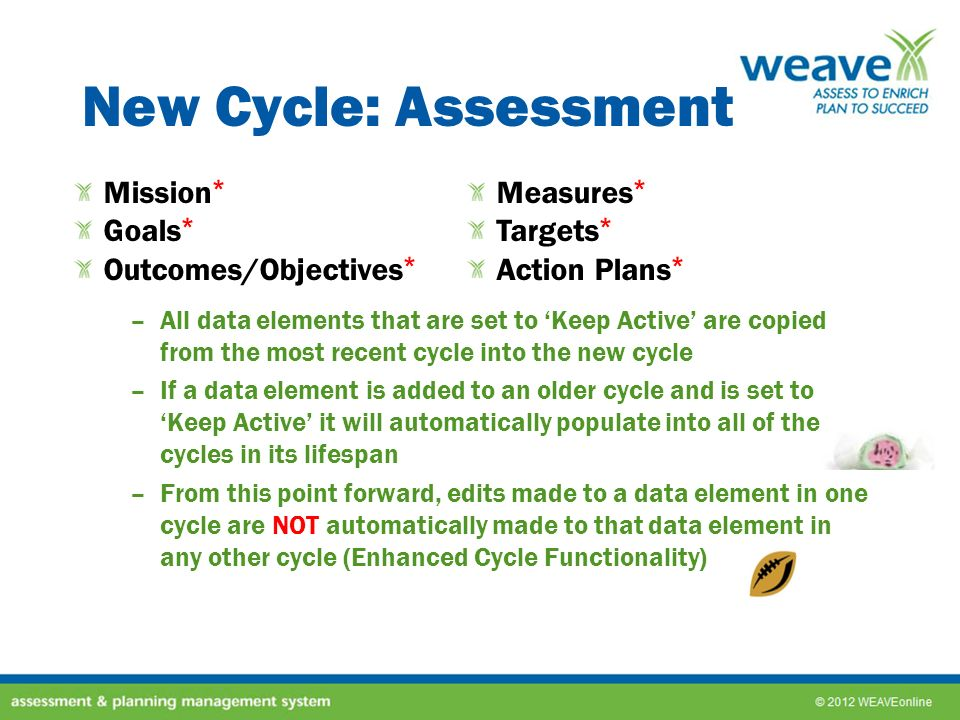 New Cycle: Assessment Mission* Measures* Goals* Targets*