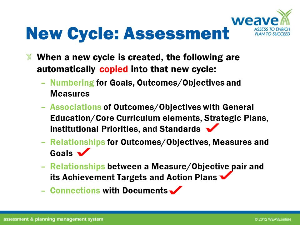 New Cycle: Assessment When a new cycle is created, the following are automatically copied into that new cycle: