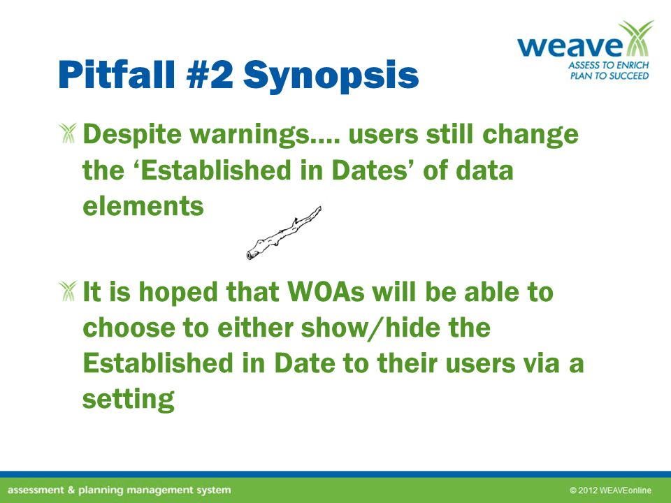 Pitfall #2 Synopsis Despite warnings…. users still change the 'Established in Dates' of data elements.