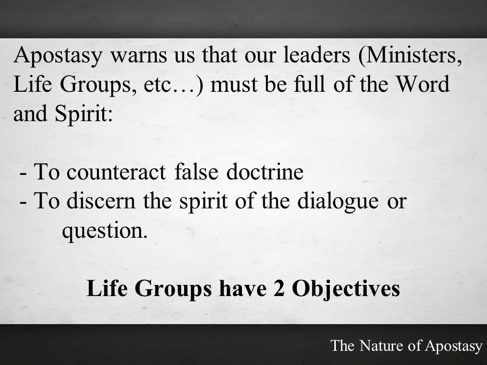 Life Groups have 2 Objectives