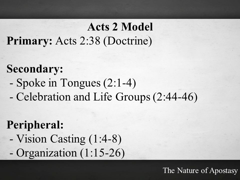 Primary: Acts 2:38 (Doctrine) Secondary: - Spoke in Tongues (2:1-4)