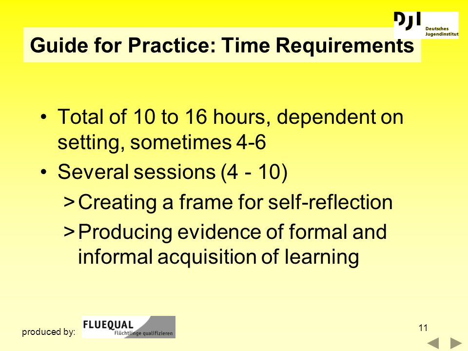 Guide for Practice: Time Requirements