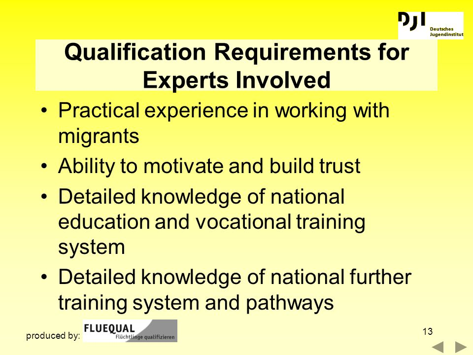 Qualification Requirements for Experts Involved