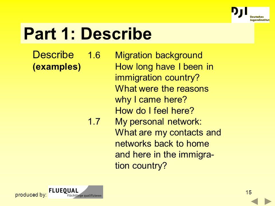 Part 1: Describe Describe 1.6 Migration background