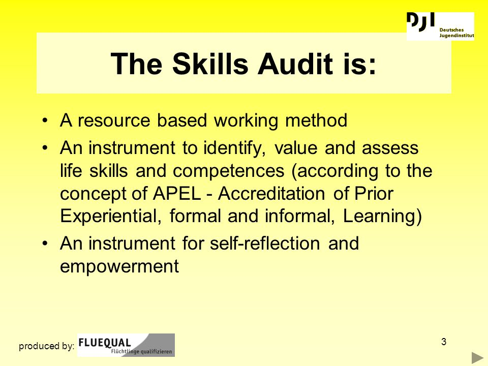 The Skills Audit is: A resource based working method