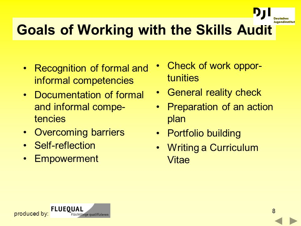 Goals of Working with the Skills Audit
