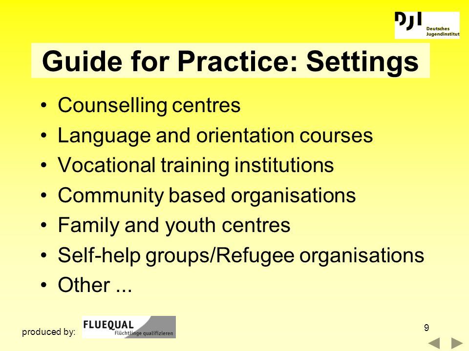 Guide for Practice: Settings