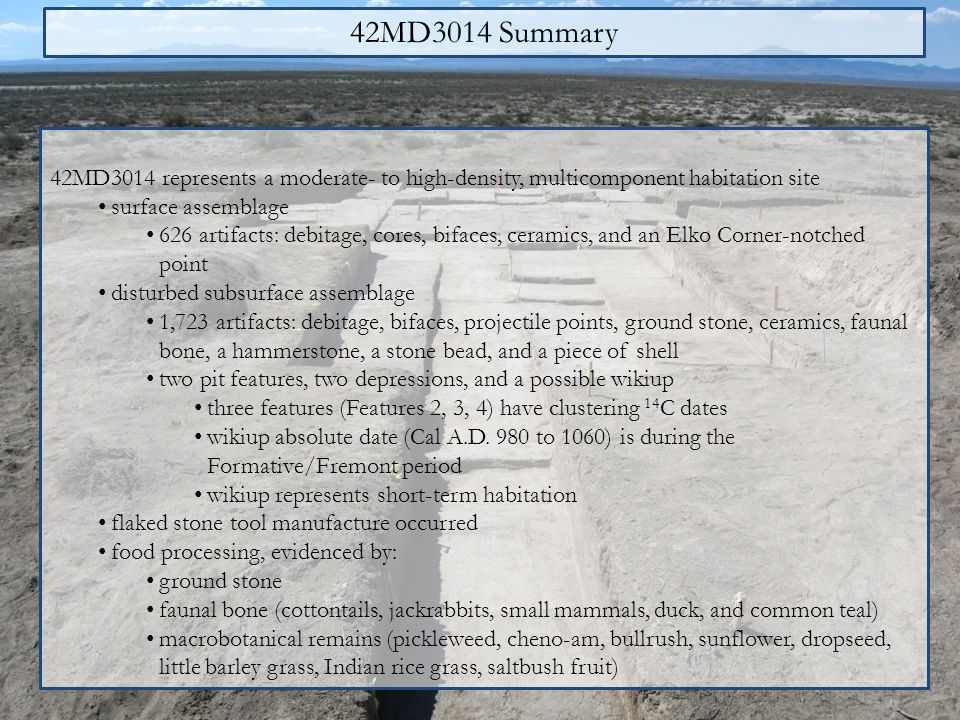 42MD3014 Summary 42MD3014 represents a moderate- to high-density, multicomponent habitation site. surface assemblage.