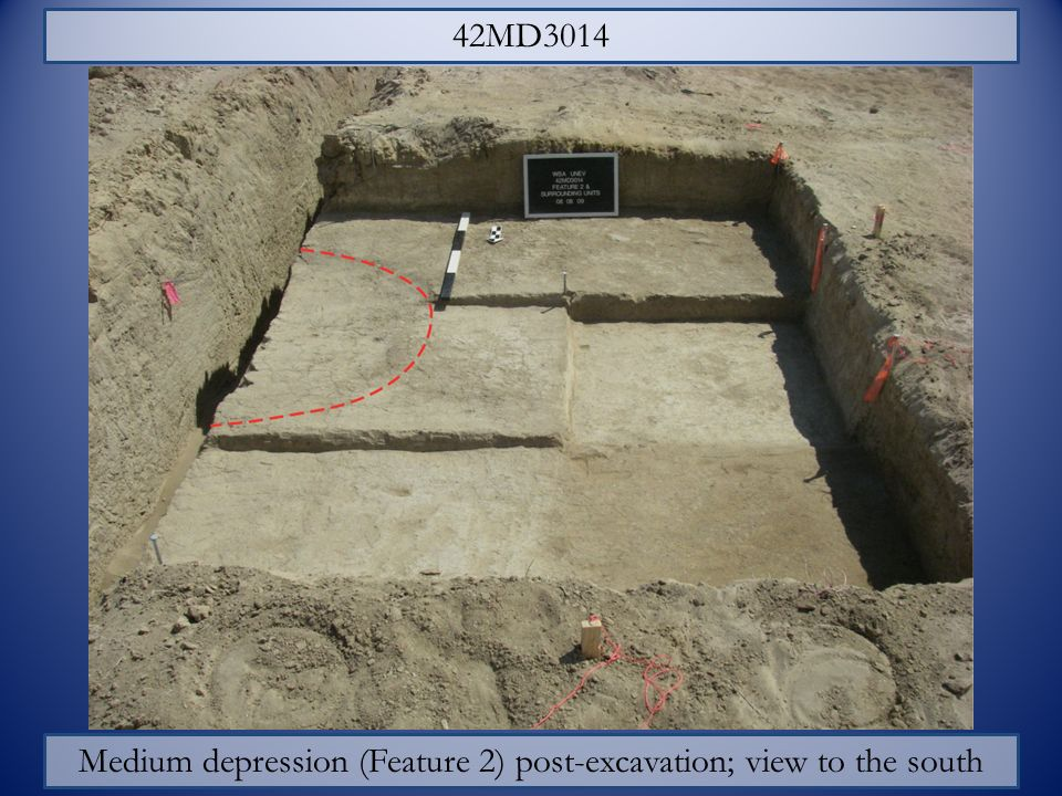 Medium depression (Feature 2) post-excavation; view to the south