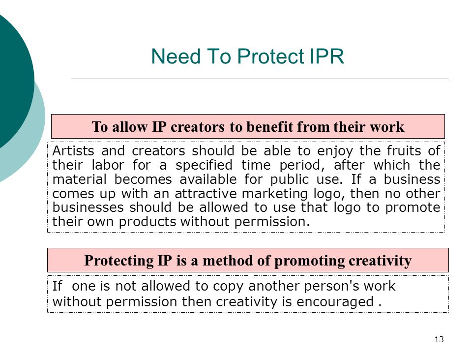 Need To Protect IPR To allow IP creators to benefit from their work