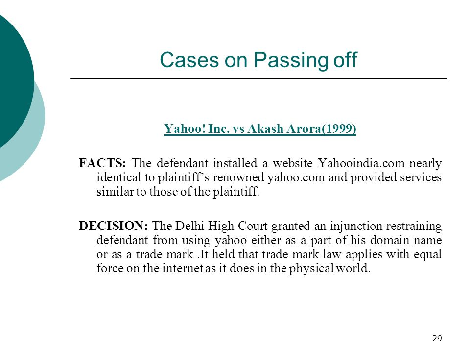 Yahoo! Inc. vs Akash Arora(1999)
