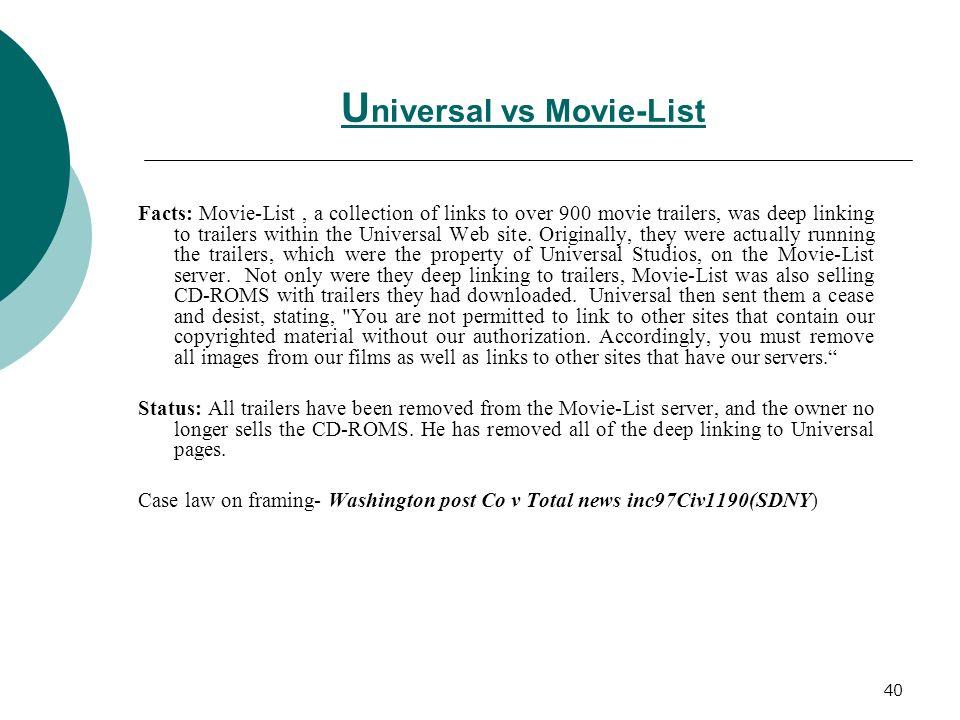 Universal vs Movie-List