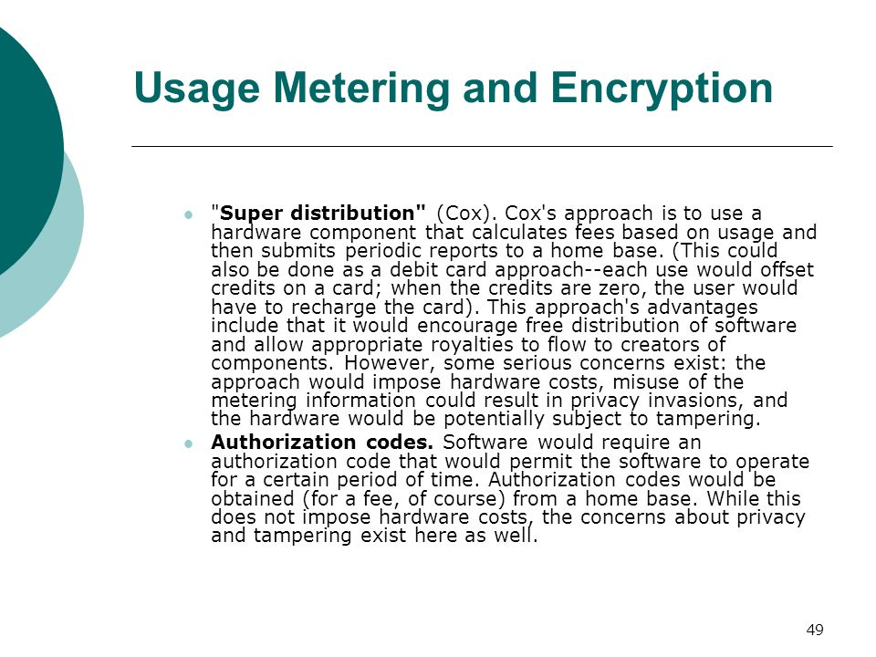 Usage Metering and Encryption