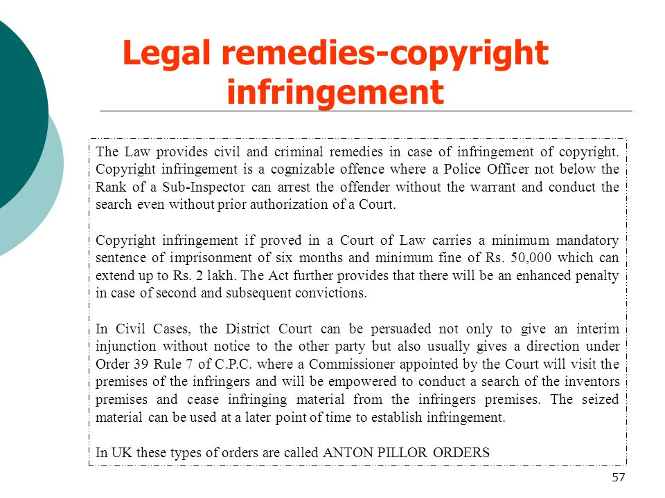 Legal remedies-copyright infringement