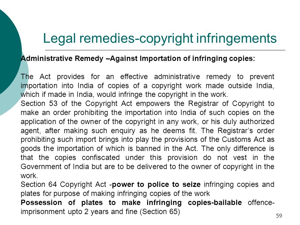 Legal remedies-copyright infringements