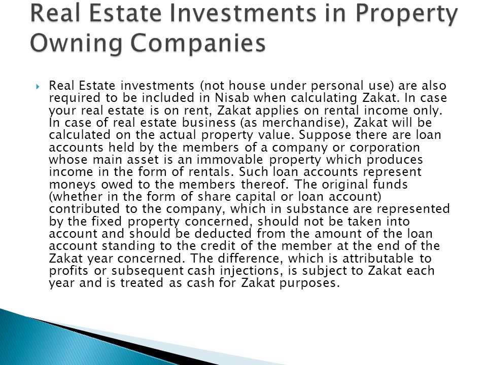 Real Estate Investments in Property Owning Companies