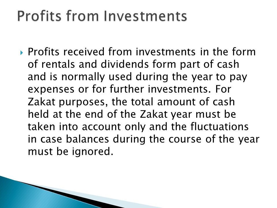 Profits from Investments