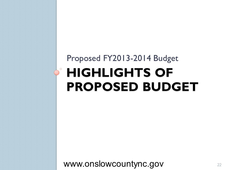Highlights of Proposed Budget