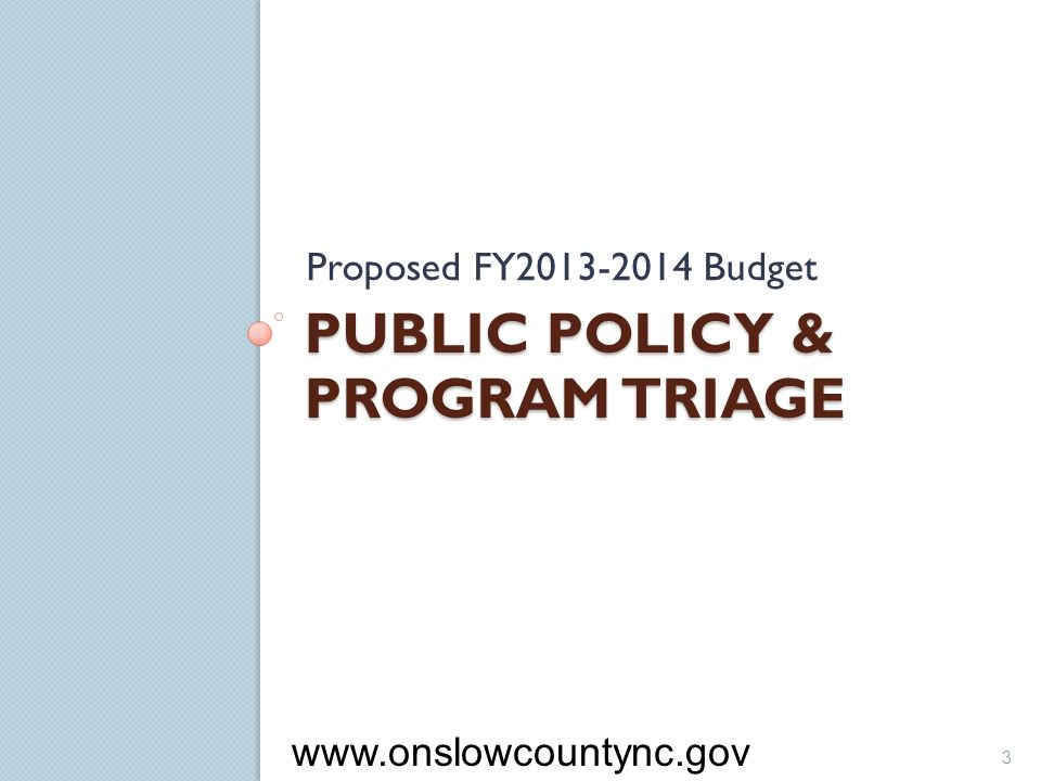 Public Policy & Program Triage