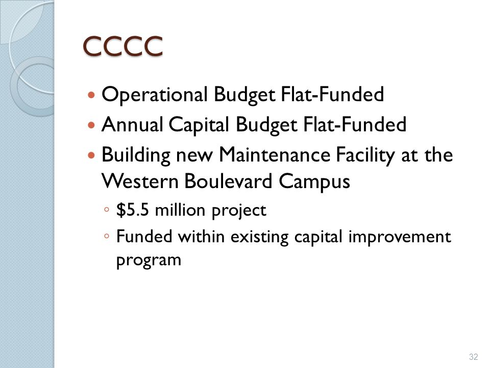 CCCC Operational Budget Flat-Funded Annual Capital Budget Flat-Funded