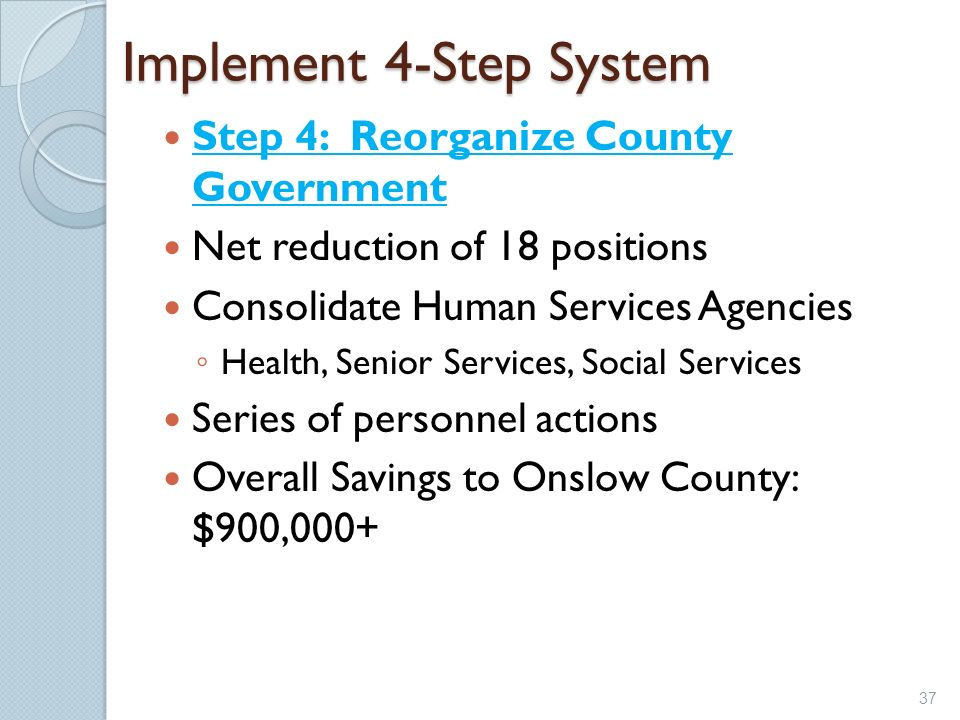 Implement 4-Step System