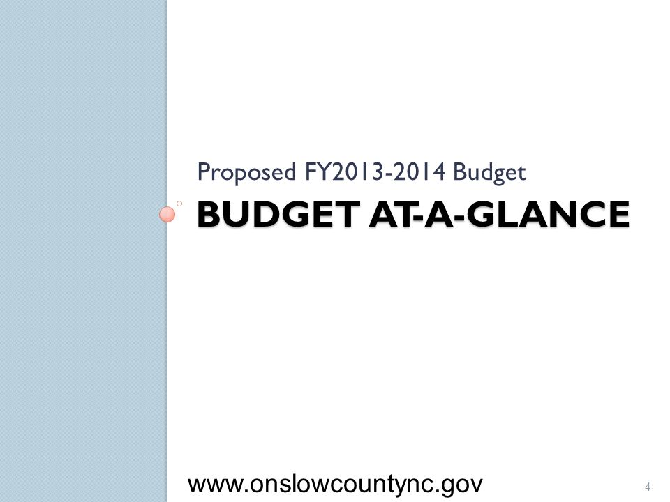 Proposed FY2013-2014 Budget Budget At-a-Glance www.onslowcountync.gov