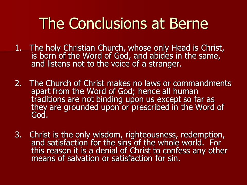 The Conclusions at Berne