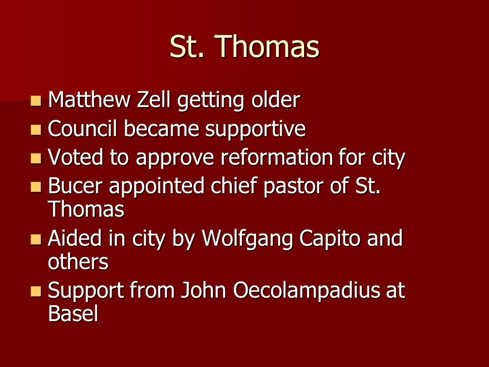 St. Thomas Matthew Zell getting older Council became supportive