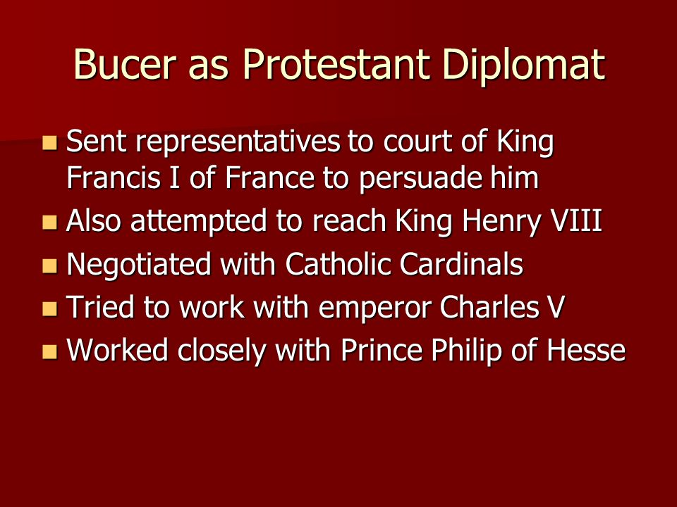 Bucer as Protestant Diplomat