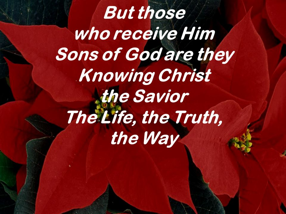 But those who receive Him. Sons of God are they. Knowing Christ. the Savior. The Life, the Truth,