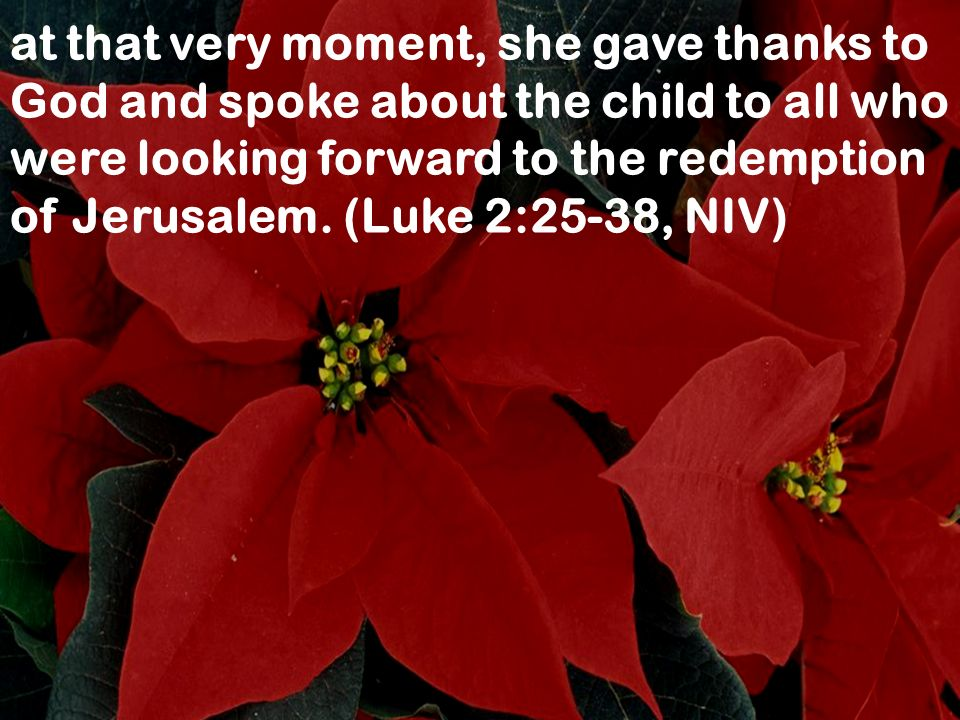 at that very moment, she gave thanks to God and spoke about the child to all who were looking forward to the redemption of Jerusalem.