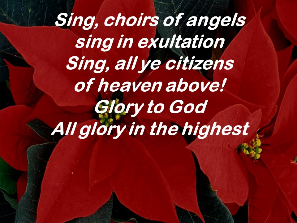 sing in exultation Sing, all ye citizens of heaven above! Glory to God