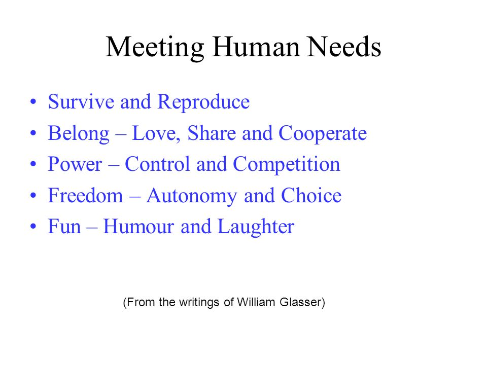 Meeting Human Needs Survive and Reproduce
