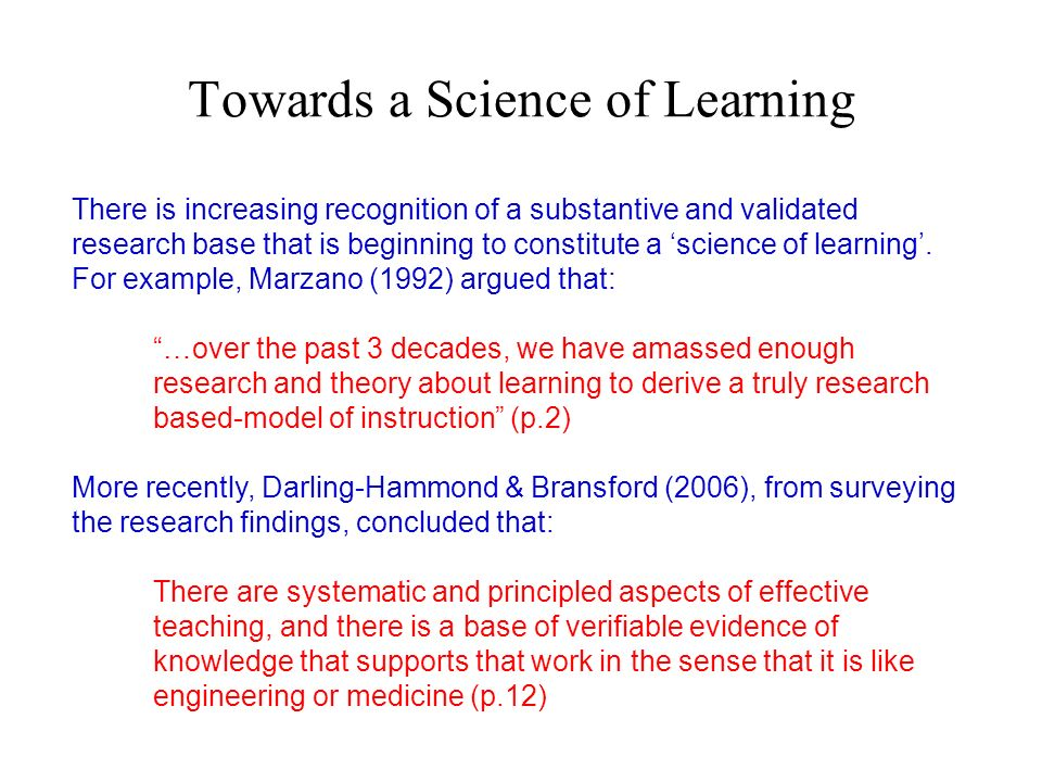 Towards a Science of Learning