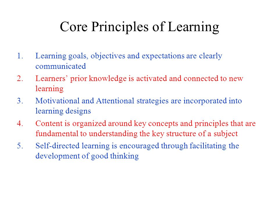 Core Principles of Learning