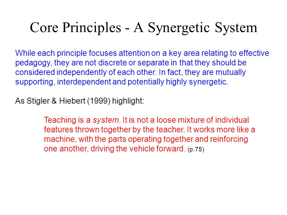 Core Principles - A Synergetic System