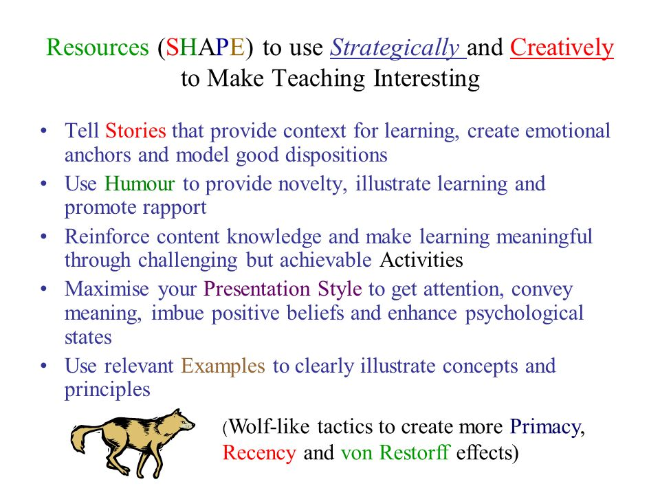 Resources (SHAPE) to use Strategically and Creatively to Make Teaching Interesting