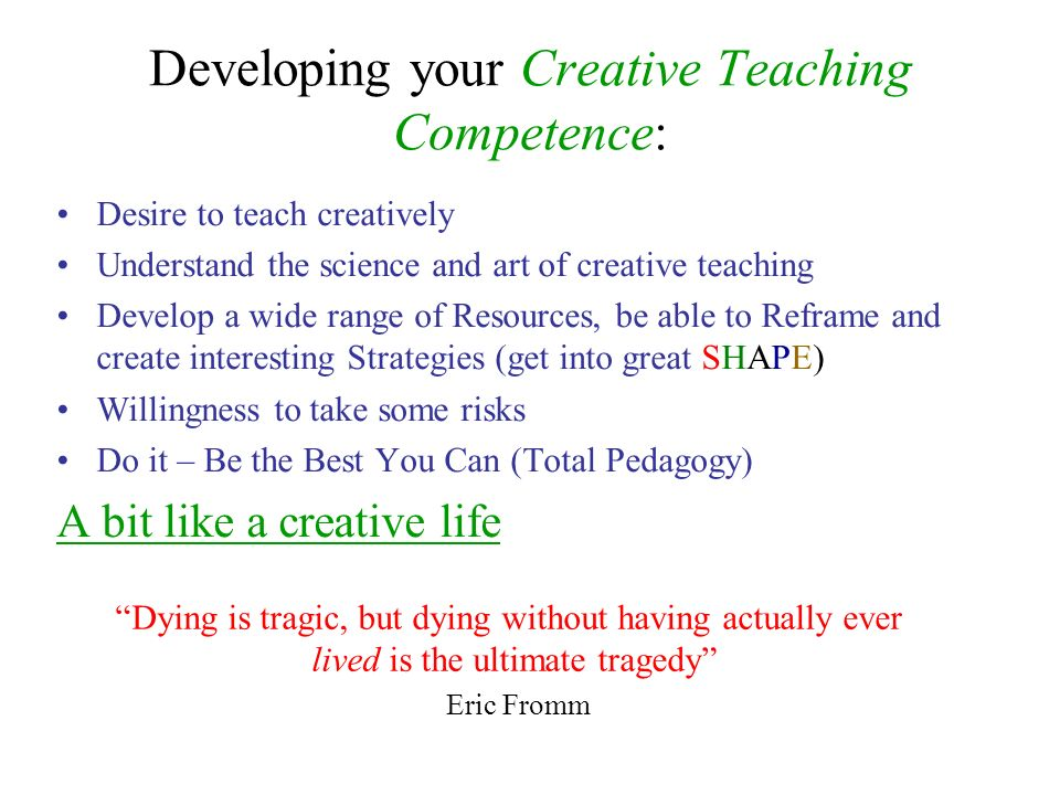 Developing your Creative Teaching Competence: