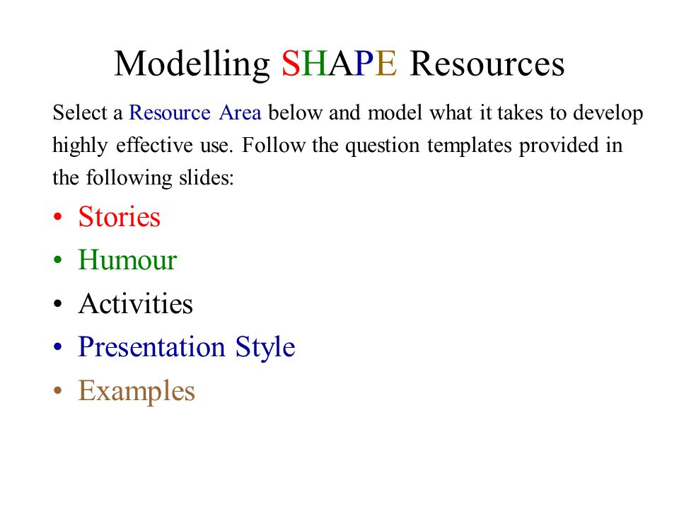 Modelling SHAPE Resources
