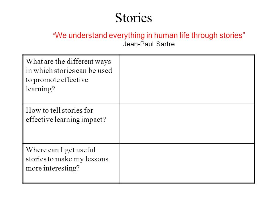 We understand everything in human life through stories
